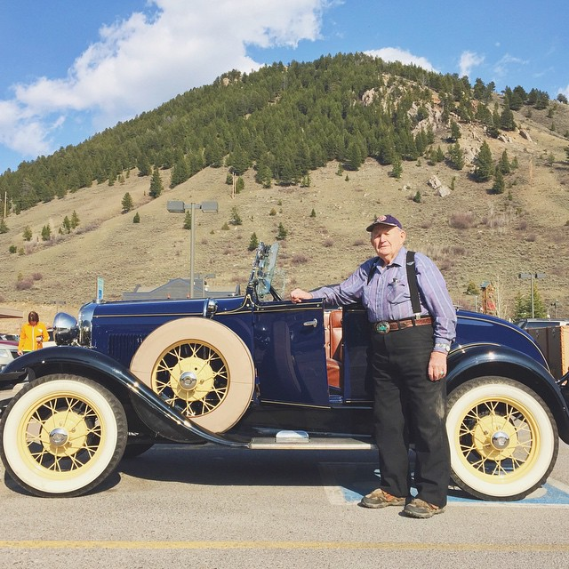 "Meet Allen. He's the owner of this sweet Ford Model A. Before he drove off he admitted, ""I have five of these, but no money."" This one is a 1931 that he's had for 20 years. Check out @notmynonni to see another shot of the car! #notmynonni #jacksonhole"