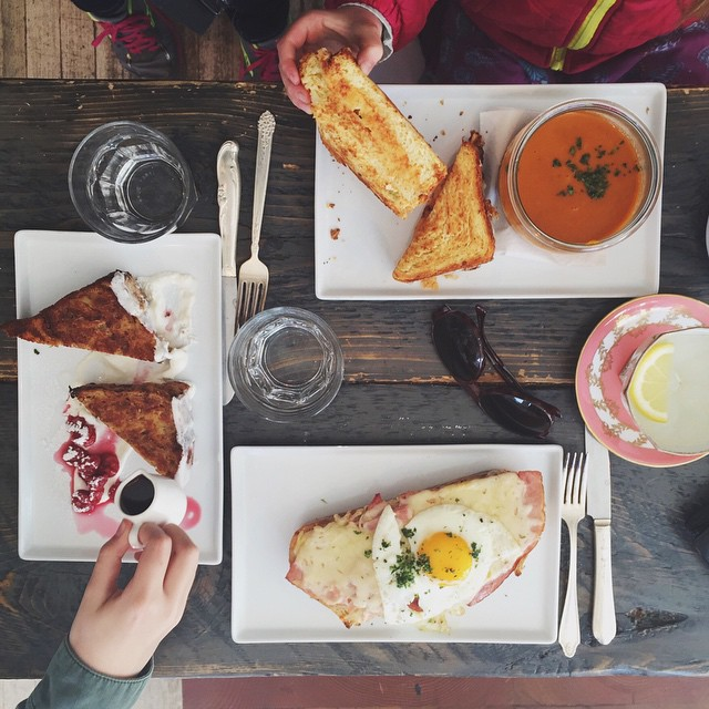Sunday brunch with the nieces.  Grilled cheese with tomato soup, winning. Bread pudding french toast, winning. Croque Madame, winning.  #onthetable #tianaeats
